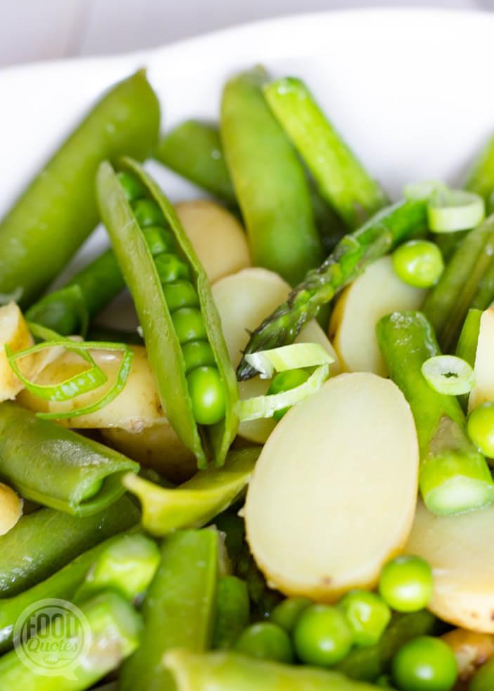 krieltjes doperwten en groen asperges