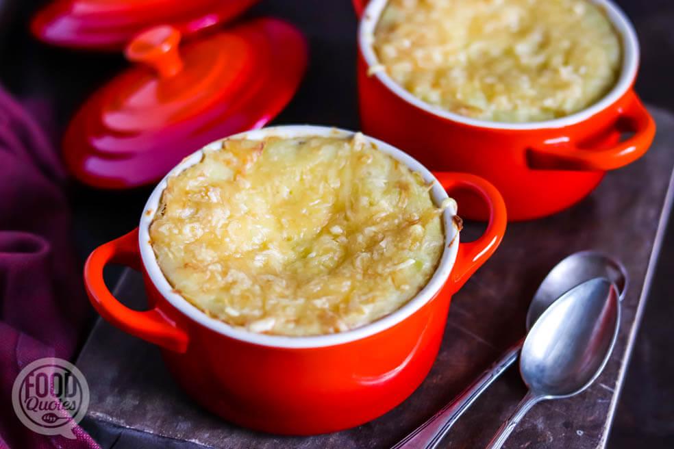 Knolselderij-aardappelpuree uit de oven