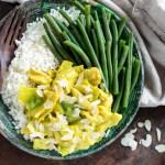 Vegan kip-kerrie met bloemkoolrijst