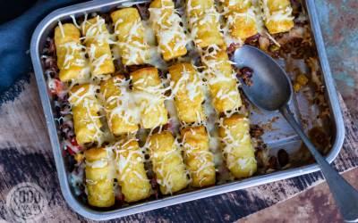 Mexicaanse ovenschotel met aardappelkroketjes