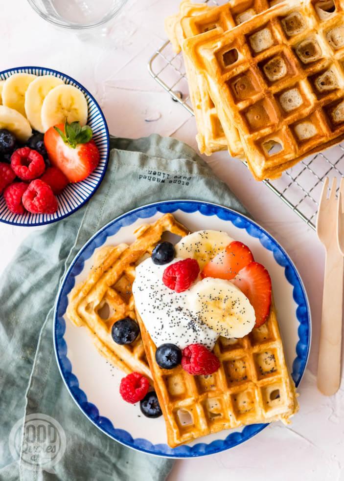 Ontbijt wafels met skyr