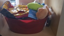 $ Tree basket becomes pet storage....stocked with $ Tree toys!!