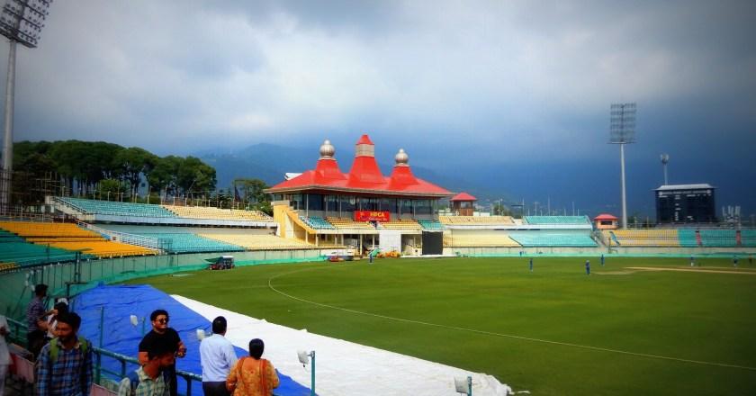 Watching a Cricket Match at Dharamshala Cricket Stadium