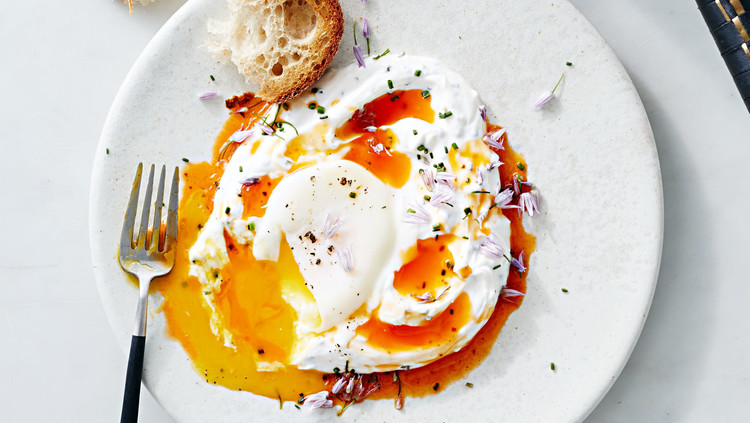 Butter-poached egg in a vegetable nest – Recipe 1
