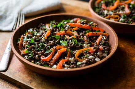 Black lentil salad with vegetables and herbs food recipes