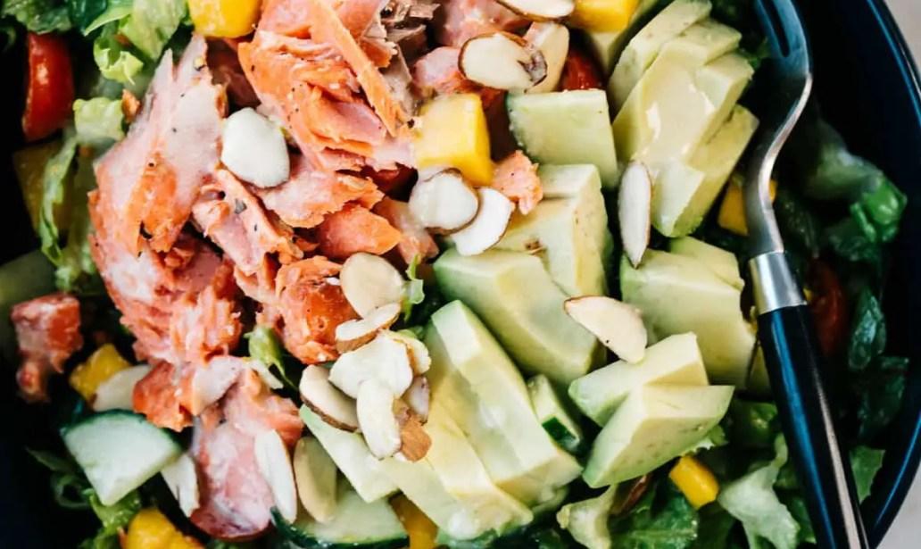 creamy avocado and salmon salad
