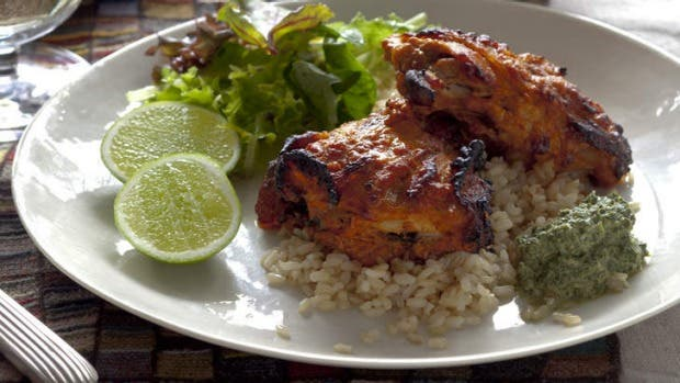 Masala chicken with minted yoghurt sauce – Recipe 1