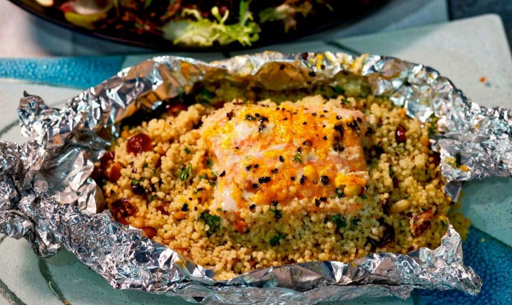 Baked salmon and couscous parcels – Recipe 1