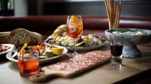 Chef Sal Lamboglia of Bar Primi demonstrates how he puts together antipasti for a party. (Photos: Clay Williams.)