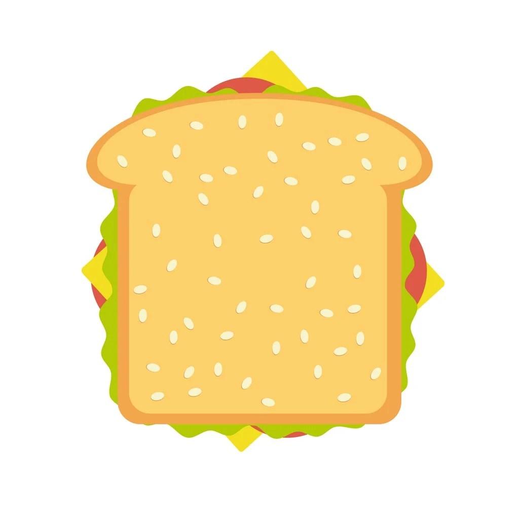 火腿和蔬菜三明治圖