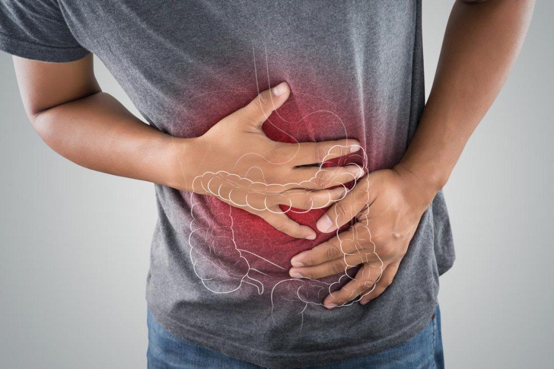 腸圖形覆蓋在人的胃上