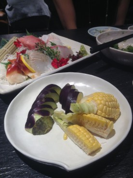 eggplant and corn sashimi