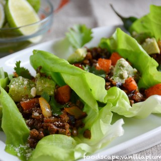 lentil taco lettuce wraps with sweet potato