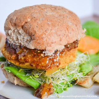 sweet potato chickpea burger with apricot mustard and rosemary potato fries bursting with flavor and nutrition