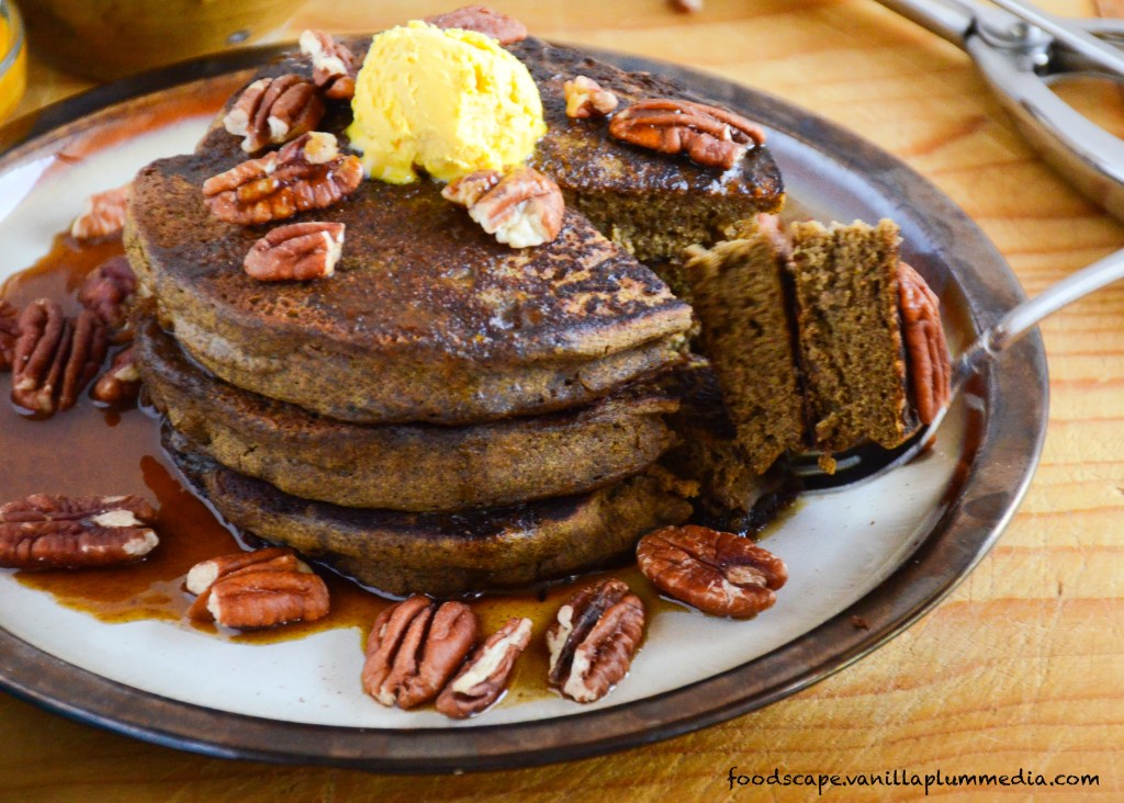 Pumpkin Peanut Butter Pancakes - Healthy, delicious, and just happen to be vegan. Plus, they are sky-high without any equipment!