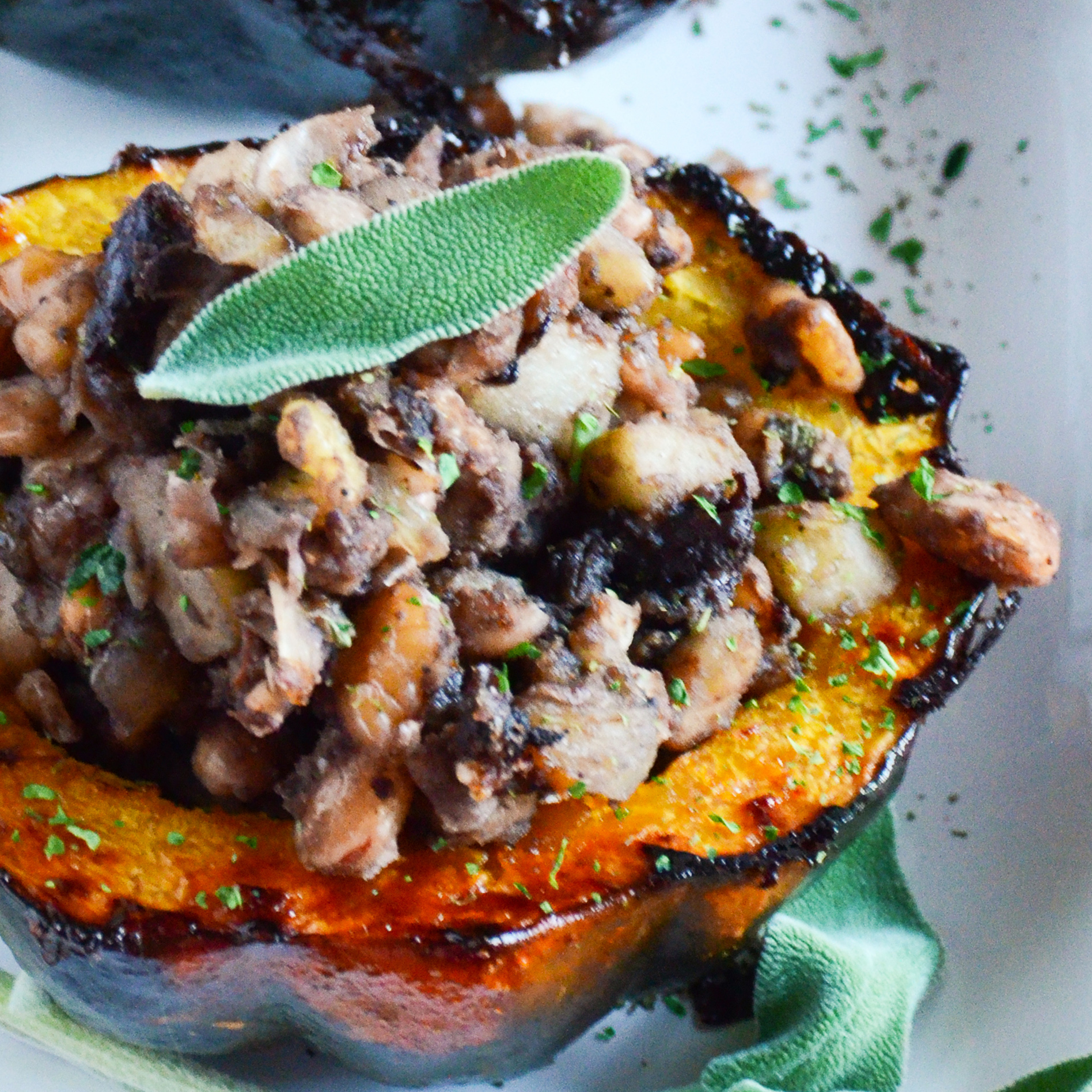 Sweet and Savory Stuffed Acorn Squash with White Beans