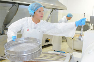 Uniformed female food processing plant worker turning lever on machinery while holding large metal cake pan