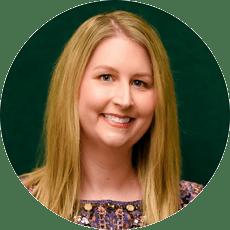 Circular headshot of Ashley Raber with green background
