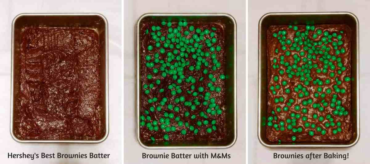 Hershey's Best Brownies - a collage with brownie batter, brownie batter topped with M&Ms, and baked brownies