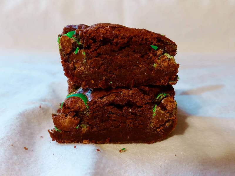 hershey's best brownies, stacked one on top of the other