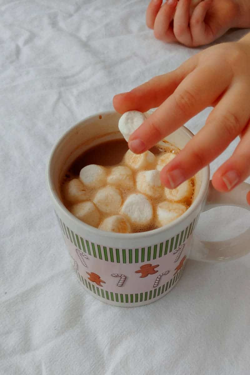placing mini marshmallows in a mug of hot cocoa made with Alton Brown's Hot Cocoa Mix
