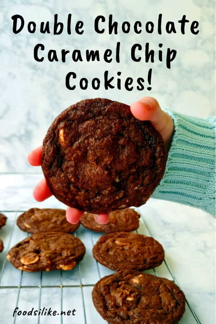 double chocolate caramel chip cookie, held - pin for Pinterest