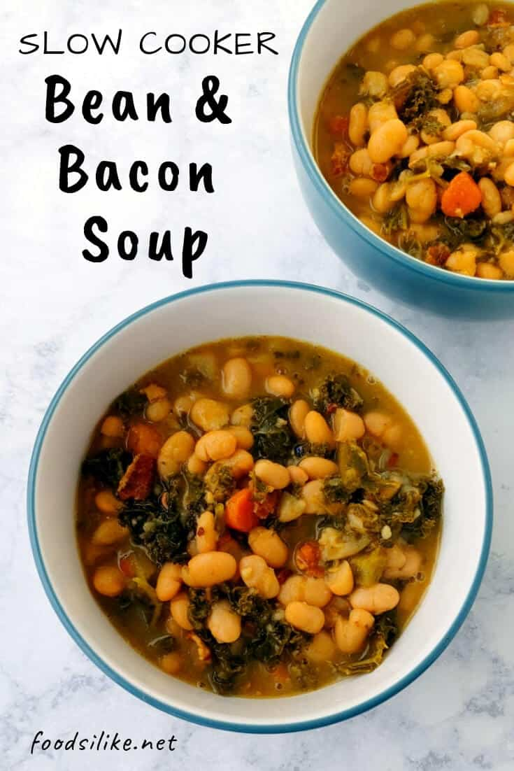 bowls of bean with bacon soup, with text overlay for Pinterest