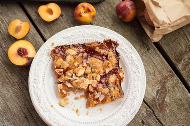 Peach Plum and Honey Streusel Slap Pie