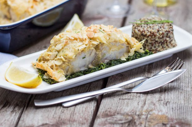 Cobia Rezept - Mandel-Cobia auf Spinatbett mit Quinoa