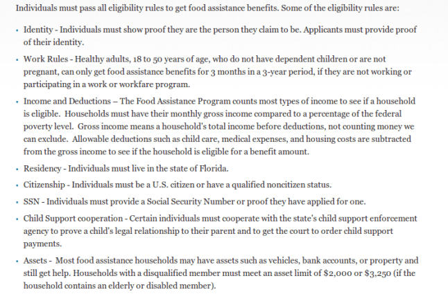 """""""Florida food stamps eligibility requirement"""""""