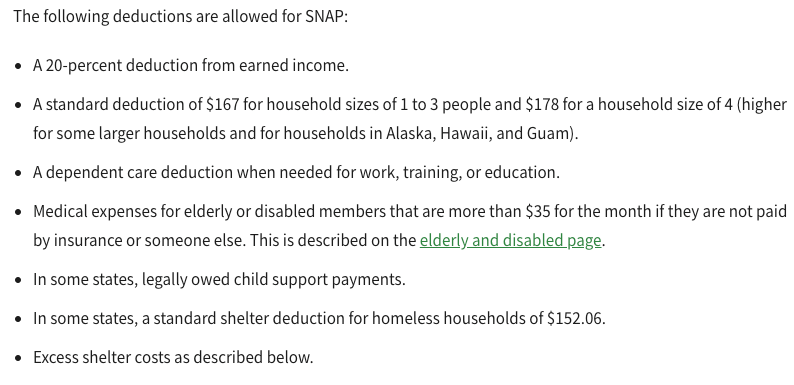 """food stamps income limit deductions"""