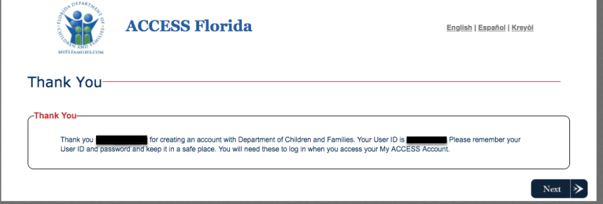 """""""Create a My ACCESS Florida Account - no case number"""""""
