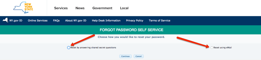 """NY Mybenefits.ny.gov password reset step 2"""