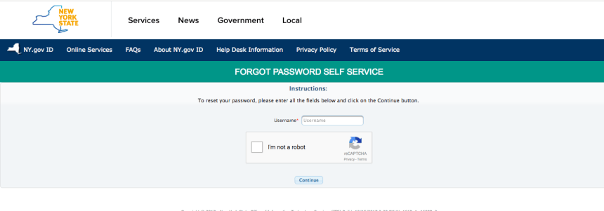 """NY Mybenefits.ny.gov password reset"""