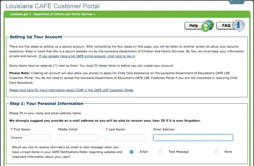 """dcfs.la.gov LA CAFE Create Account - step 1"""
