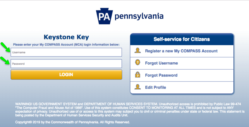 """Compass.state.pa.us Login"""