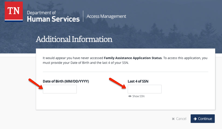 """""""Tennessee DHS Account Login - 2"""""""