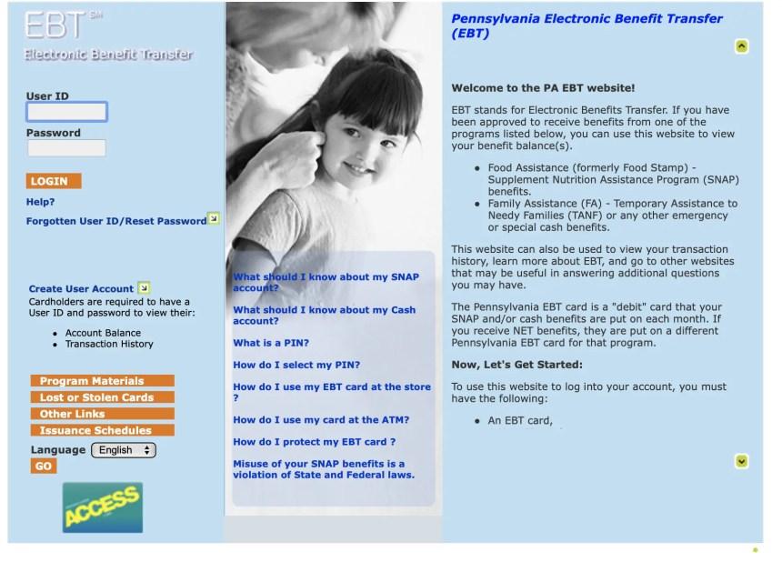 Pennsylvania EBT Card Balance Online