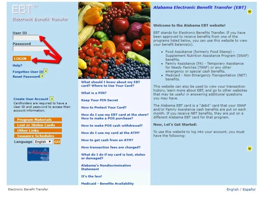 Alabama EBT Card Balance Online