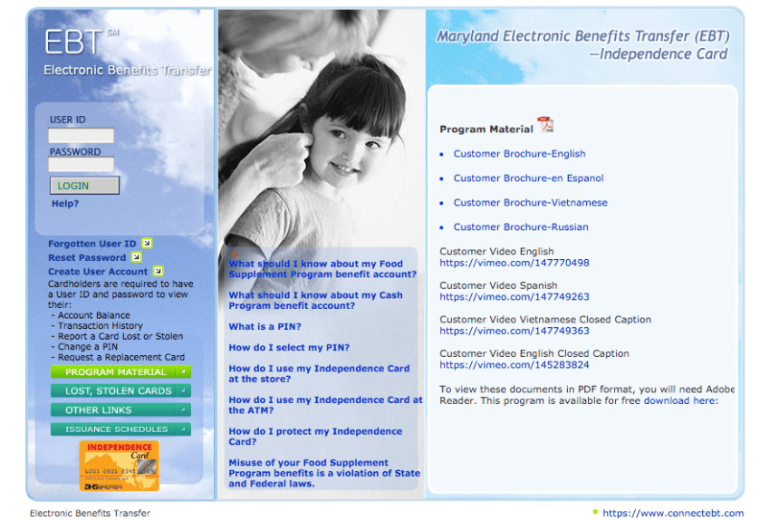 """Maryland EBT Balance check online"""