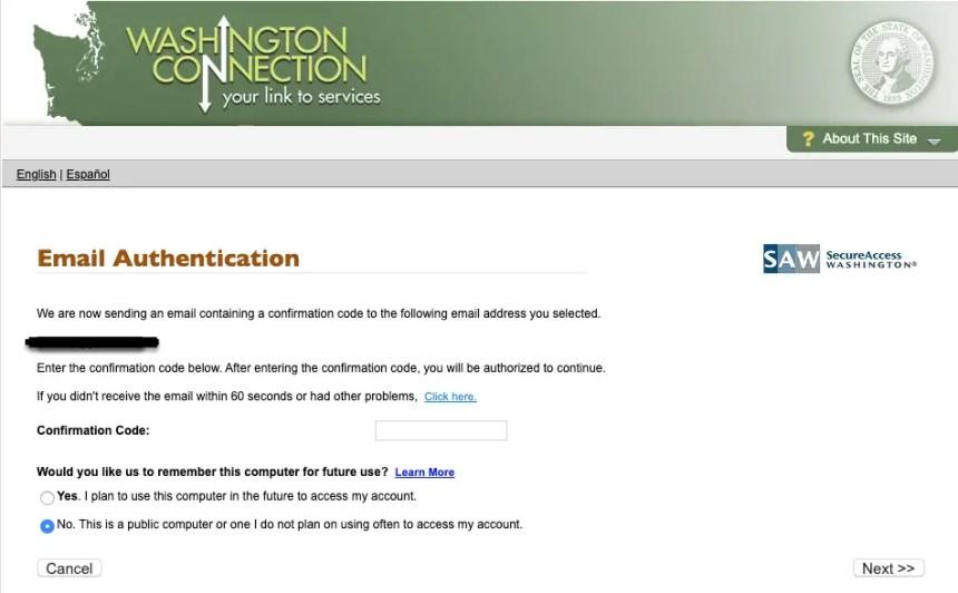 """""""DSHS Washington Connection Account Login - Identity Verification 1"""""""