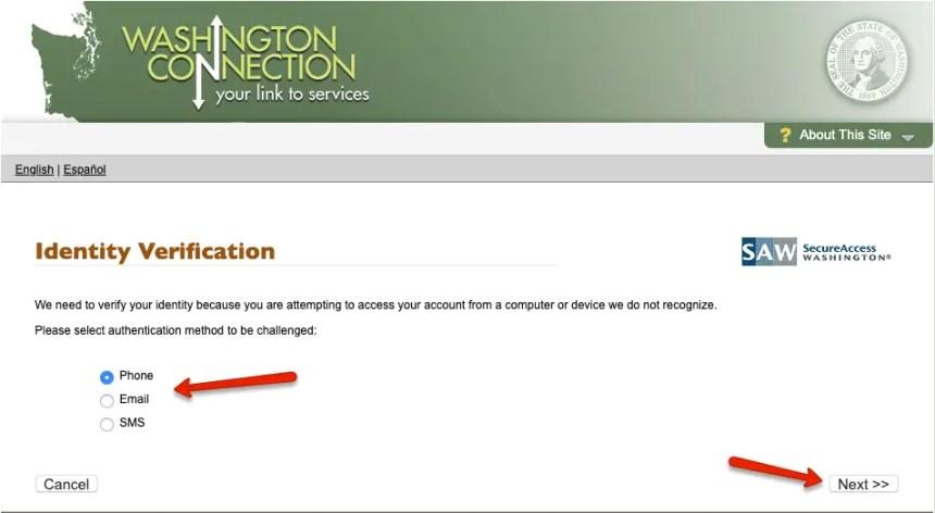 """""""DSHS Washington Connection Account Login - Identity Verification"""""""