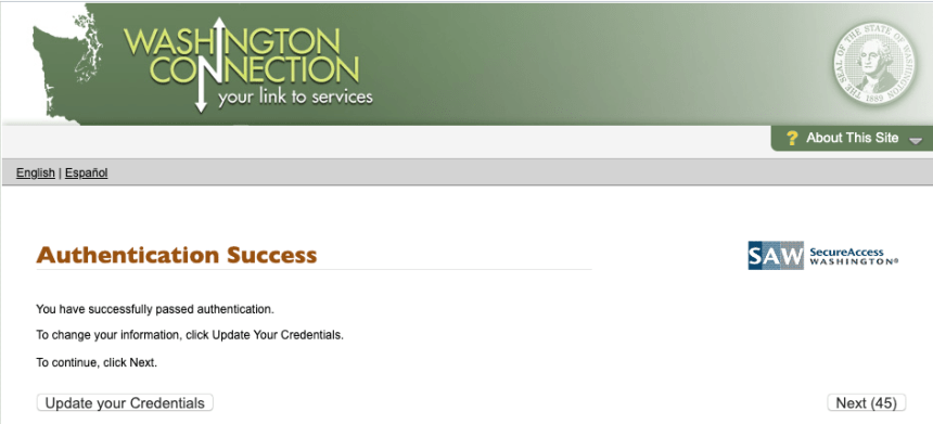 """DSHS Washington Connection Account Login Success"""
