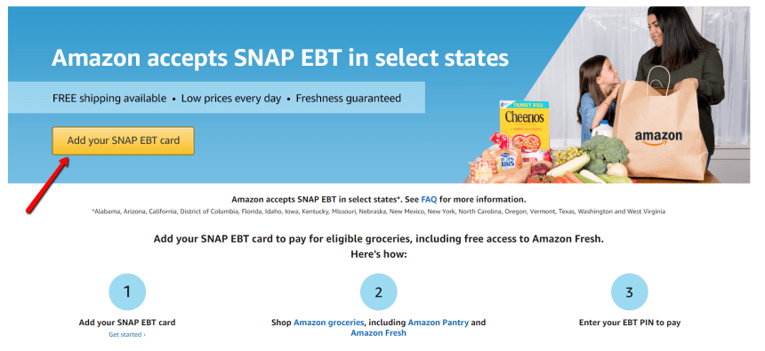 Use DC EBT Card on Amazon