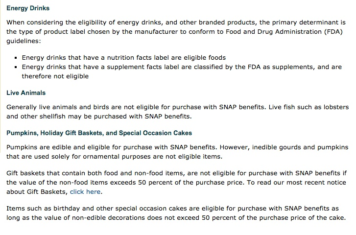 """""""list of eligible food stamp items"""""""
