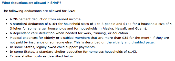 """""""Food Stamps Income limit 2018 - Deductions"""""""