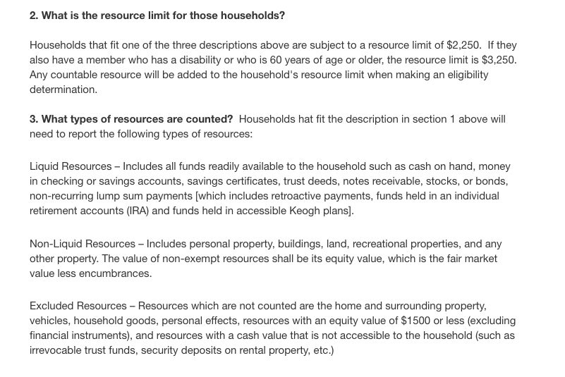 """""""Guidelines for Food Stamps In California Resource requirement"""""""