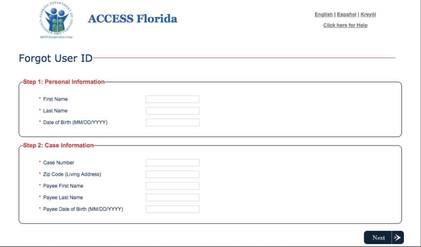 """Access Florida Account Reset Username and password"""