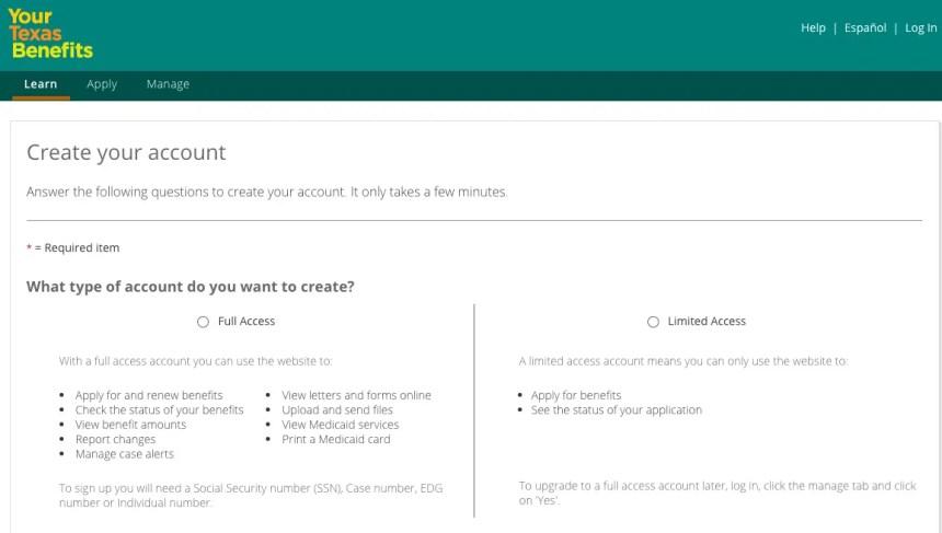 """Yourtexasbenefits.com Create an Account"""