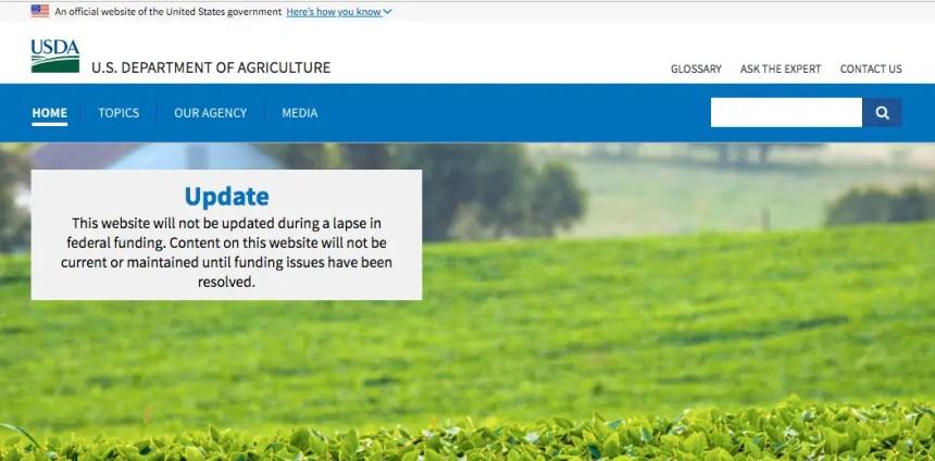 """USDA Office Notice on Federal Shutdown"""